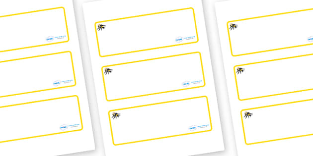 Bee Themed Editable Drawer-Peg-Name Labels (Blank) - Themed Classroom Label Templates, Resource Labels, Name Labels, Editable Labels, Drawer Labels, Coat Peg Labels, Peg Label, KS1 Labels, Foundation Labels, Foundation Stage Labels, Teaching Labels