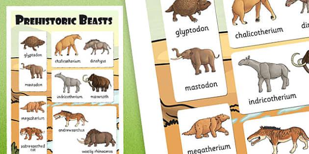 Prehistoric Beasts Vocabulary Poster - vocab, display, history
