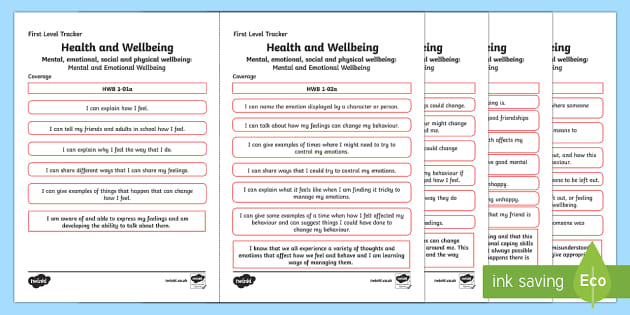 CfE Health and Wellbeing (Mental and Emotional Wellbeing) First Level Child Friendly Tracking-Scottish