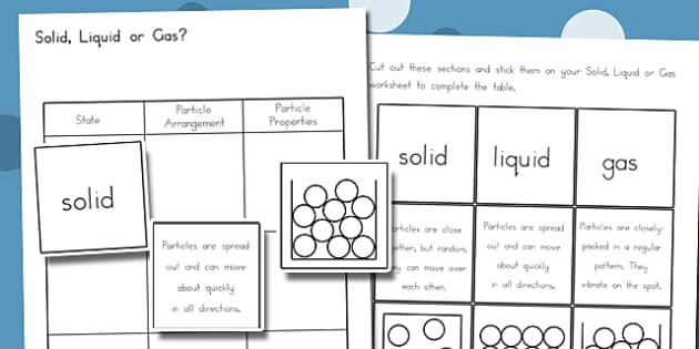 Solid, Liquid, Gas Worksheet - australia, solid, liquid, gas, worksheet