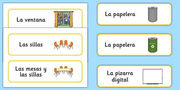 Classroom Furniture labels Spanish - spanish, Classroom furniture, furniture label, door, chair, table, window, desk, carpet, bin, dustbin, whiteboard, chalkboard, classroom areas