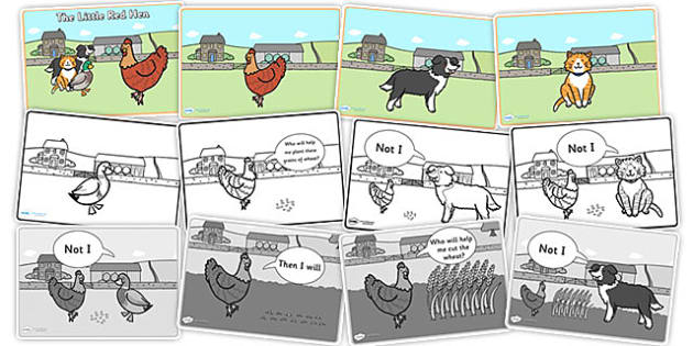 Little Red Hen Sequencing Cards