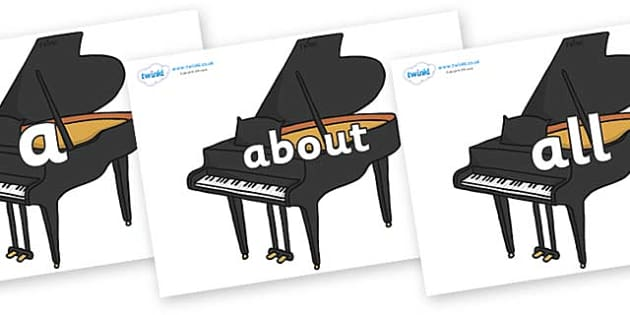 100 High Frequency Words on Baby Grand Pianos - High frequency words, hfw, DfES Letters and Sounds, Letters and Sounds, display words