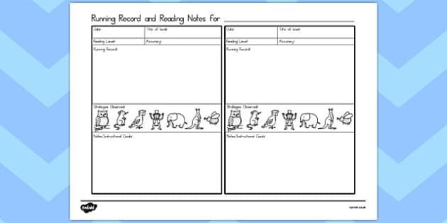 Running Record and Guided Reading Notes - australia, guided reading