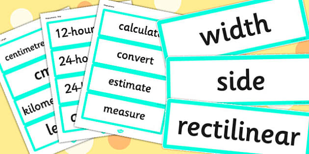 Year 4 2014 Curriculum Maths Vocabulary Cards Measurement - math