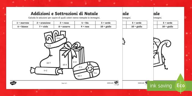 Addizioni e Sottrazioni di Natale totale 10 colorare coi numeri - natale, numeri ,addizioni, sottrazioni, esercizio, colora, Natalizio, festivo
