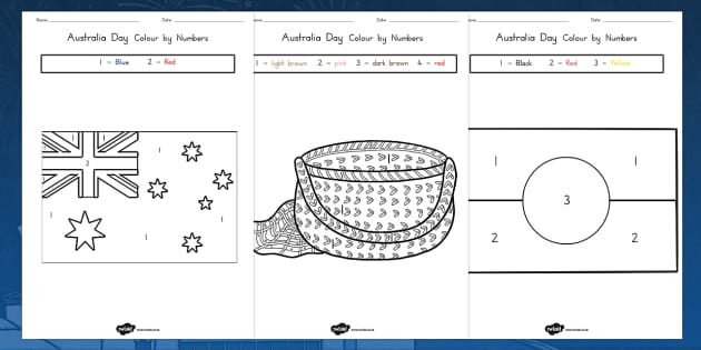 Australia Day Colour by Number - australia, colour, number, day
