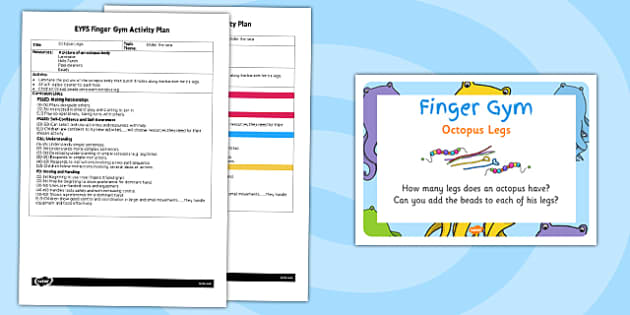 EYFS Octopus Legs Finger Gym Activity Plan and Prompt Card Pack