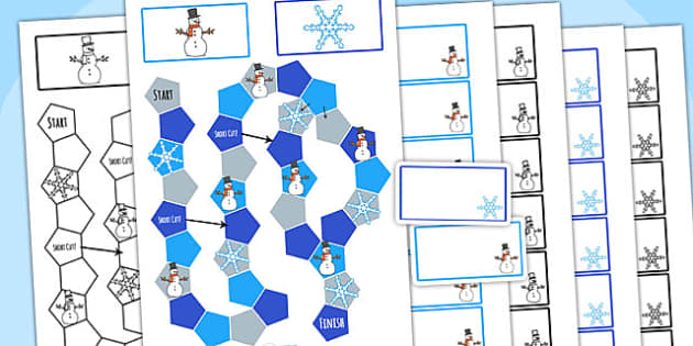 Winter Themed Editable Board Game - winter, seasons, board game
