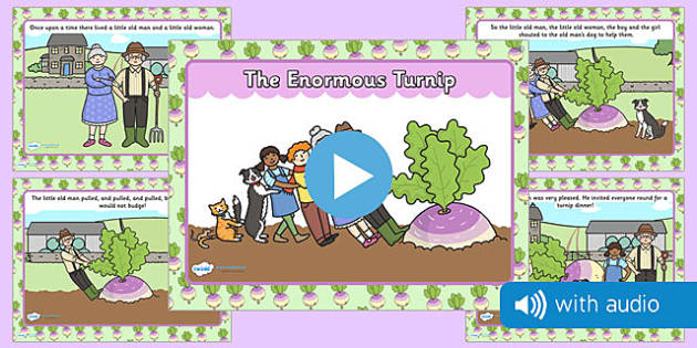The Enormous Turnip Narrated Story - traditional tale, sounds, spoken, auditory, listening, early years, ks1, key stage 1, retelling