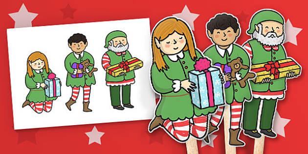 Christmas Elf Stick Puppets - activity, activities, festivities