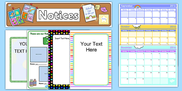 School Noticeboard Display Pack