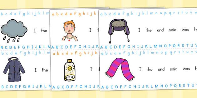 Winter Alphabet Strips - alphabet, visual aid, seasons, weather