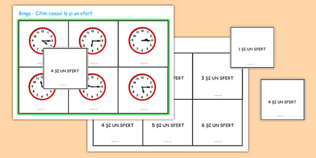 Ceasul la si un sfert, Bingo - matematica, timpul, timp, ceas