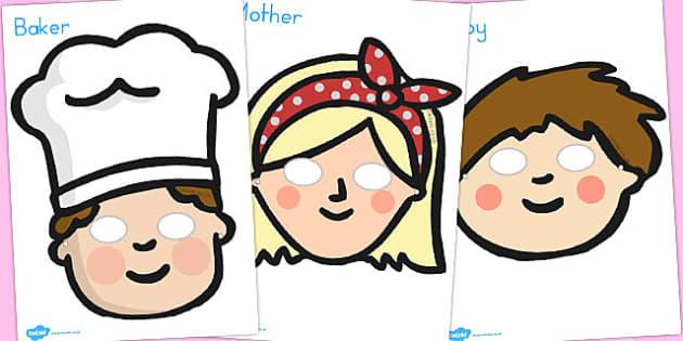 Pat a Cake Role Play Masks - nursery, rhyme, rhymes, activity