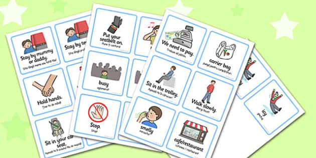 SEN Communication Cards Out And About Boy Romanian Translation - romanian
