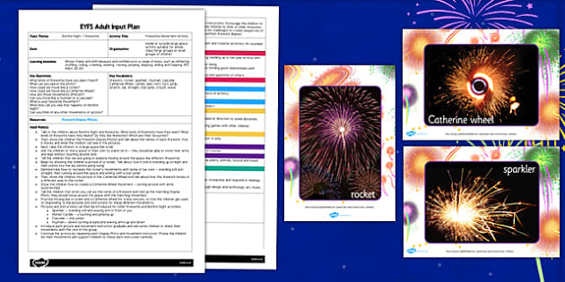 Fireworks Movement Activity EYFS Adult Input Plan and Resource Pack - fireworks, movements, pack