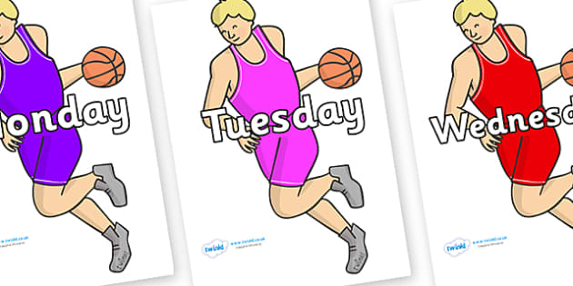 Days of the Week on Basketball Players - Days of the Week, Weeks poster, week, display, poster, frieze, Days, Day, Monday, Tuesday, Wednesday, Thursday, Friday, Saturday, Sunday
