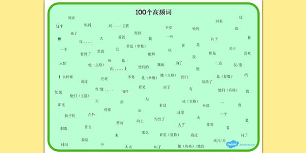 100 High Frequency Words Word Mat Mandarin Chinese - chinese mandarin, word mat, frequency words
