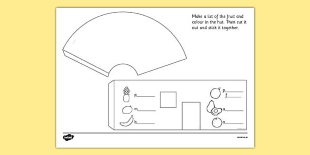 African Surprise Hut Paper Model Template - templates, frame, frames, base
