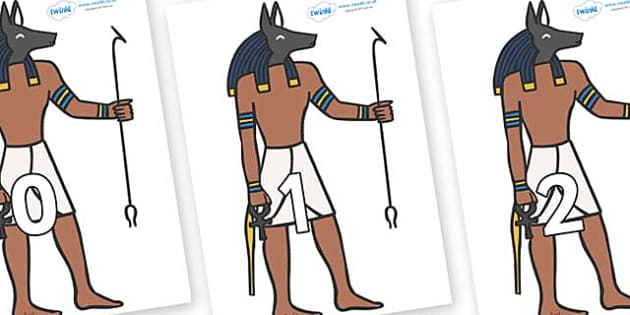 Numbers 0-31 on Egyptian God - 0-31, foundation stage numeracy, Number recognition, Number flashcards, counting, number frieze, Display numbers, number posters