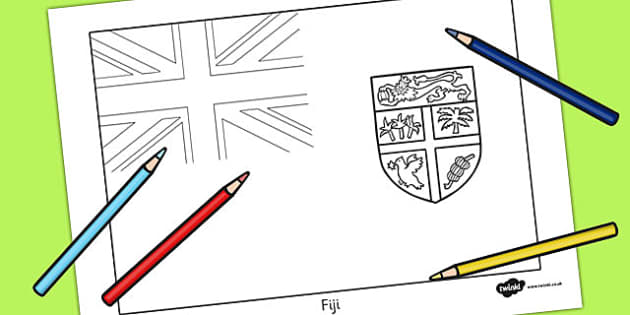 Fiji Flag Colouring Sheet -  geography, countries, colour