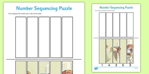Beatrix Potter - The Tale of Mr Jeremy Fisher Number Sequencing Puzzle - beatrix potter, mr jeremy fisher