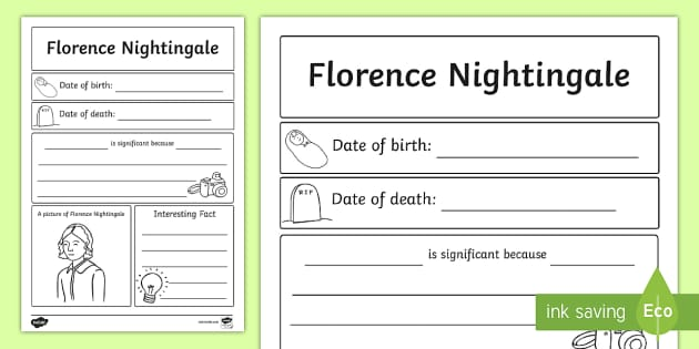 Florence Nightingale Significant Individual Writing Frame - Write