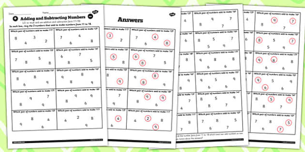 Number Facts Finding Pairs Worksheet 11-18 - number, fact, 11, 18