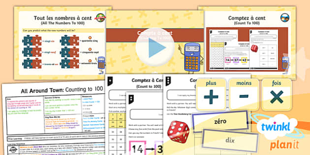 PlanIt - French Year 4 - All Around Town Lesson 4: Counting to 100 Lesson Pack - french, languages, numbers, counting, calculations