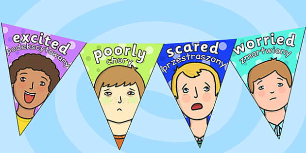 Emotions Display Bunting Polish Translation - polish, emotions, display, bunting
