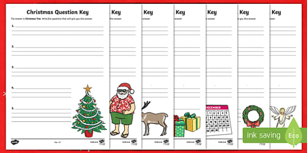 Christmas Question Keys Activity Sheet-Australia