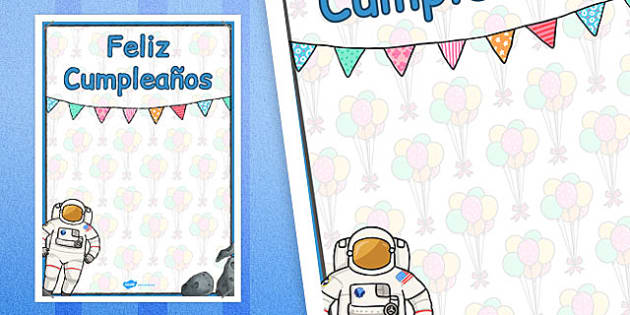 Spanish Happy Birthday Posters Space Themed - spanish, display