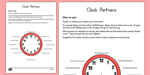 Clock Partners Partner Selection Tool - US Resources, Teamwork, Partners, k, 1st, 2nd, 3rd, 4th, 5th, 6th, 7th, 8th