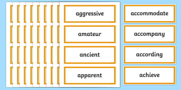 Year 5 and 6 Word List Word Cards - year 5, year 6, word list, word cards