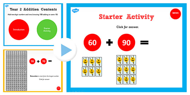 Y2 Adding 2 Numbers Tens Same 10 Cross 100 Start Teach PowerPoint