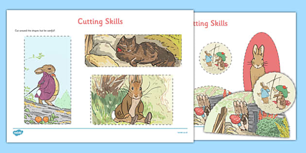 Beatrix Potter - The Tale of Benjamin Bunny Cutting Skills Worksheet - beatrix potter, benjamin bunny