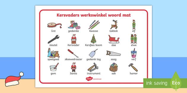 Kervaders werkwinkel woord mat - Kersvaders werkswinkel woord mat, kersvader, kersfeers, woord mat, skryf, woordeskat