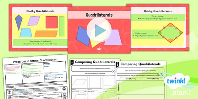PlanIt Y4 Properties of Shape Lesson Pack Geometric Shapes (2) - Properties of Shapes, quadrilaterals, 2D shapes