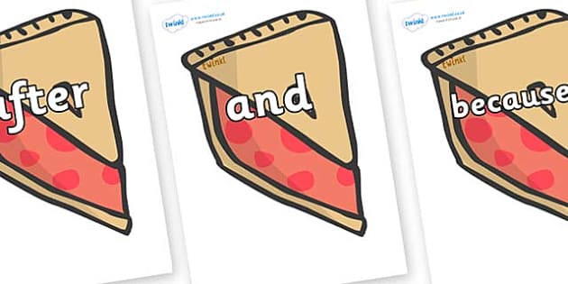 Connectives on Cherry Pie to Support Teaching on The Very Hungry Caterpillar - Connectives, VCOP, connective resources, connectives display words, connective displays