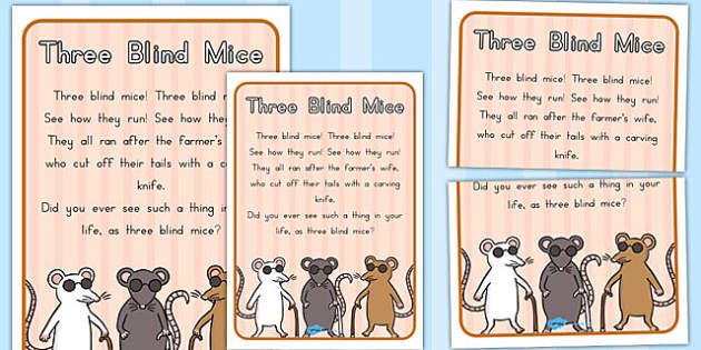 Three Blind Mice Nursery Rhyme Poster - australia, nursery, rhyme