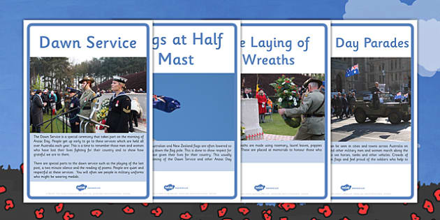 Anzac Day Customs and Traditions Lower School Information Posters - australia, ANZAC Day, History, Dawn Service, Last Post, parade, The Ode, Gallipoli, First World War, WW1, World War One, display, information, posters