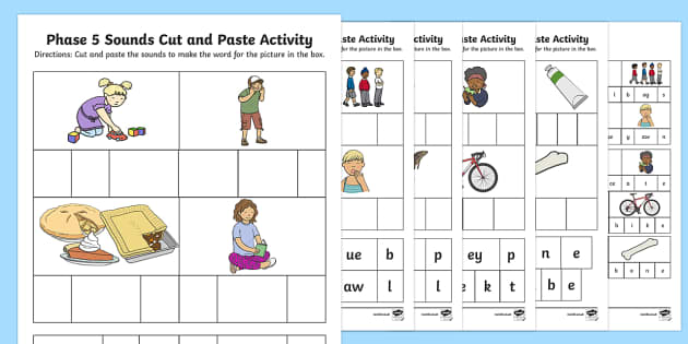 Phase 5 Sounds Cut and Paste Activity Sheets - phonics, letters and sounds, phase 5, reading, segment, build words, cut, stick, paste, activity, wo