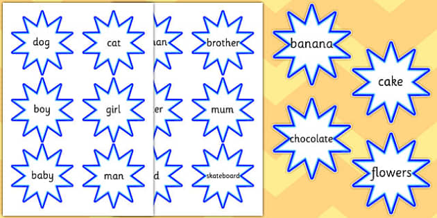 Noun Cut Out Blue Stars - noun, cut out, blue stars, blue, stars