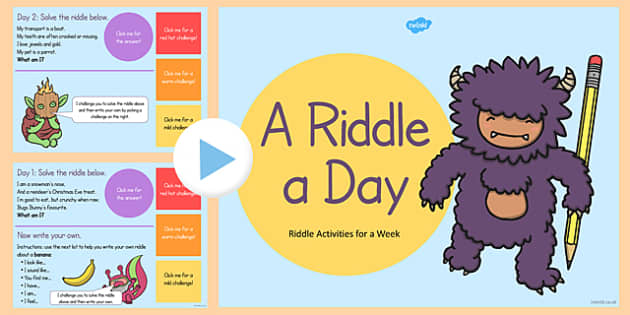 Year 2 Riddle Activity PowerPoint - year 2, riddle, activity