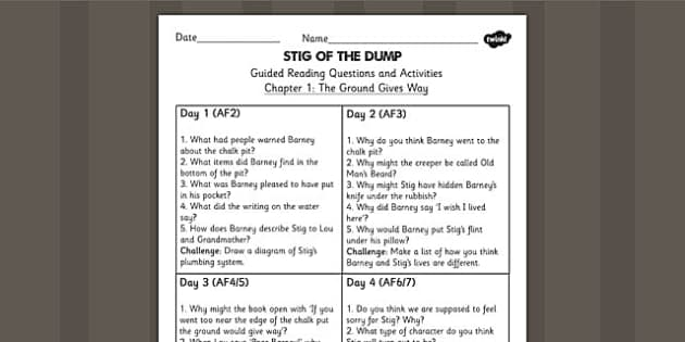 Stig of the Dump Guided Reading Chapter 1 - story, reading aid
