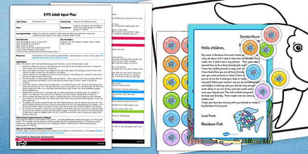 Sharing Activity EYFS Adult Input Plan and Resource Pack to Support Teaching on The Rainbow Fish