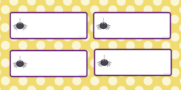 Editable Spider Themed Labels - editable, spider, labels, minibeast