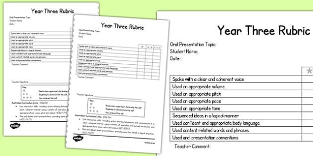 Oral Presentation Rubric Year Three - australia, oral, presentation, rubric, year three