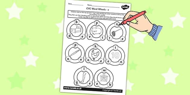 CVC Word Wheel Worksheets e - CVC words, word wheel, visual aid